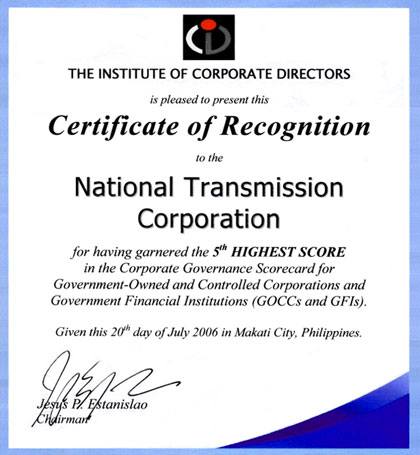 Transco transco tops goccs in governance survey june 2005 transco receives recognition in field of corporate governance from the institute of corporate directors yelopaper Gallery